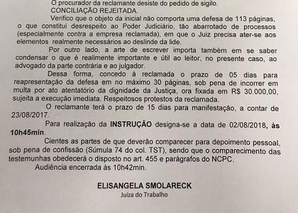 Juíza manda advogado reduzir defesa de 113 para 30 páginas