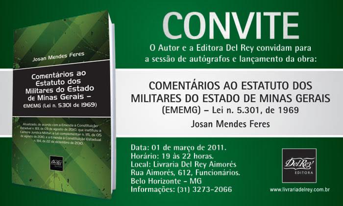 Lançamento; Editora Del Rey; Comentários Ao Estatuto Dos Militares Do Estado De Minas Gerais