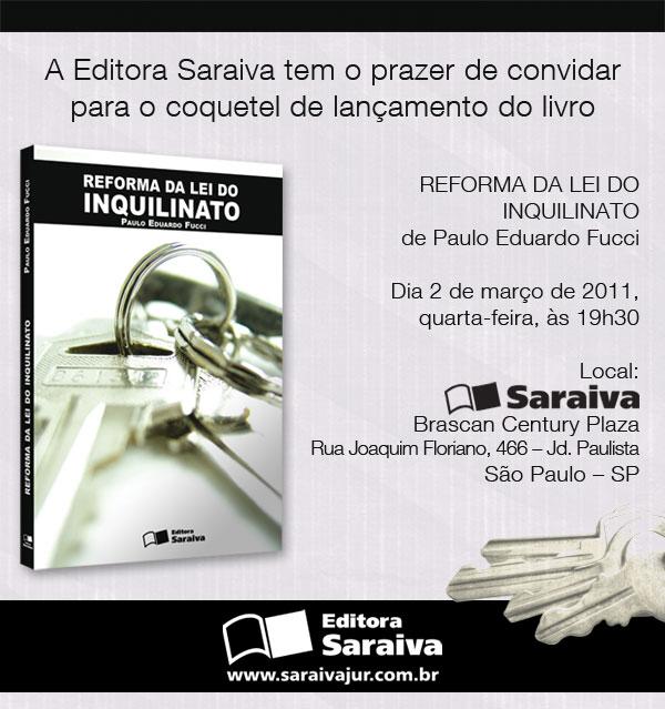 Lançamento; Editora Saraiva; Reforma da Lei do Inquilinato