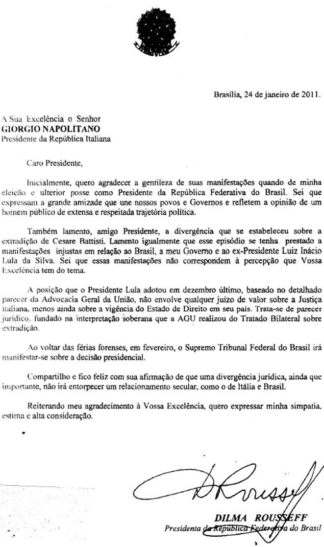 Battisti; carta; Dilma