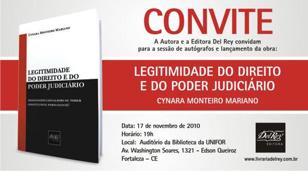 Lançamento; Editora Del Rey; Legitimidade do Direito e do Poder Judiciário