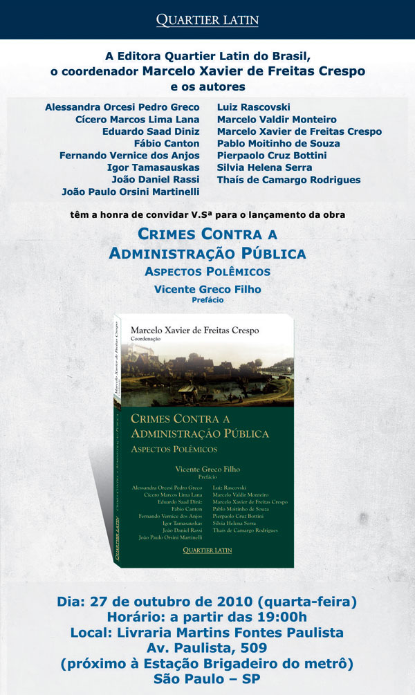 Lançamento; Crimes Contra a Administração Pública; Bottini & Tamasauskas Advogados
