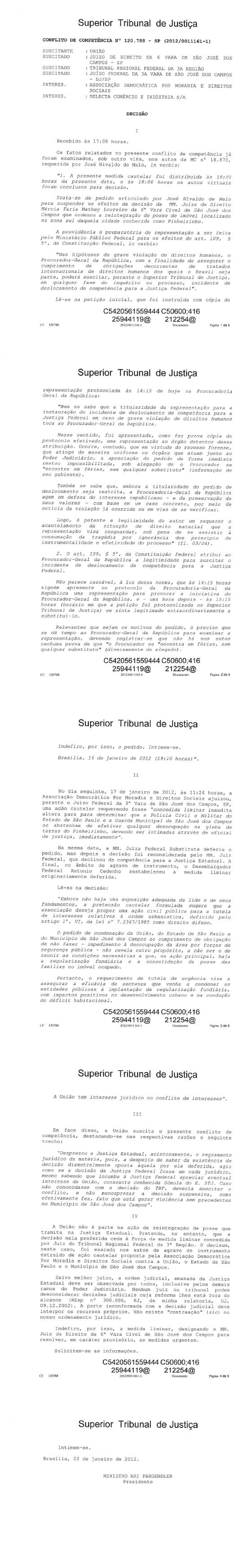 Pinheirinho; São José dos Campos; Competência; Desocupação