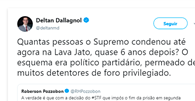 """No Twitter, Dallagnol critica atuação do STF na Lava Jato: """"quantas pessoas condenou?"""""""